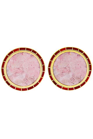 Brujo Orbit Earrings in Natural Pink Rhodonite and Red Jasper