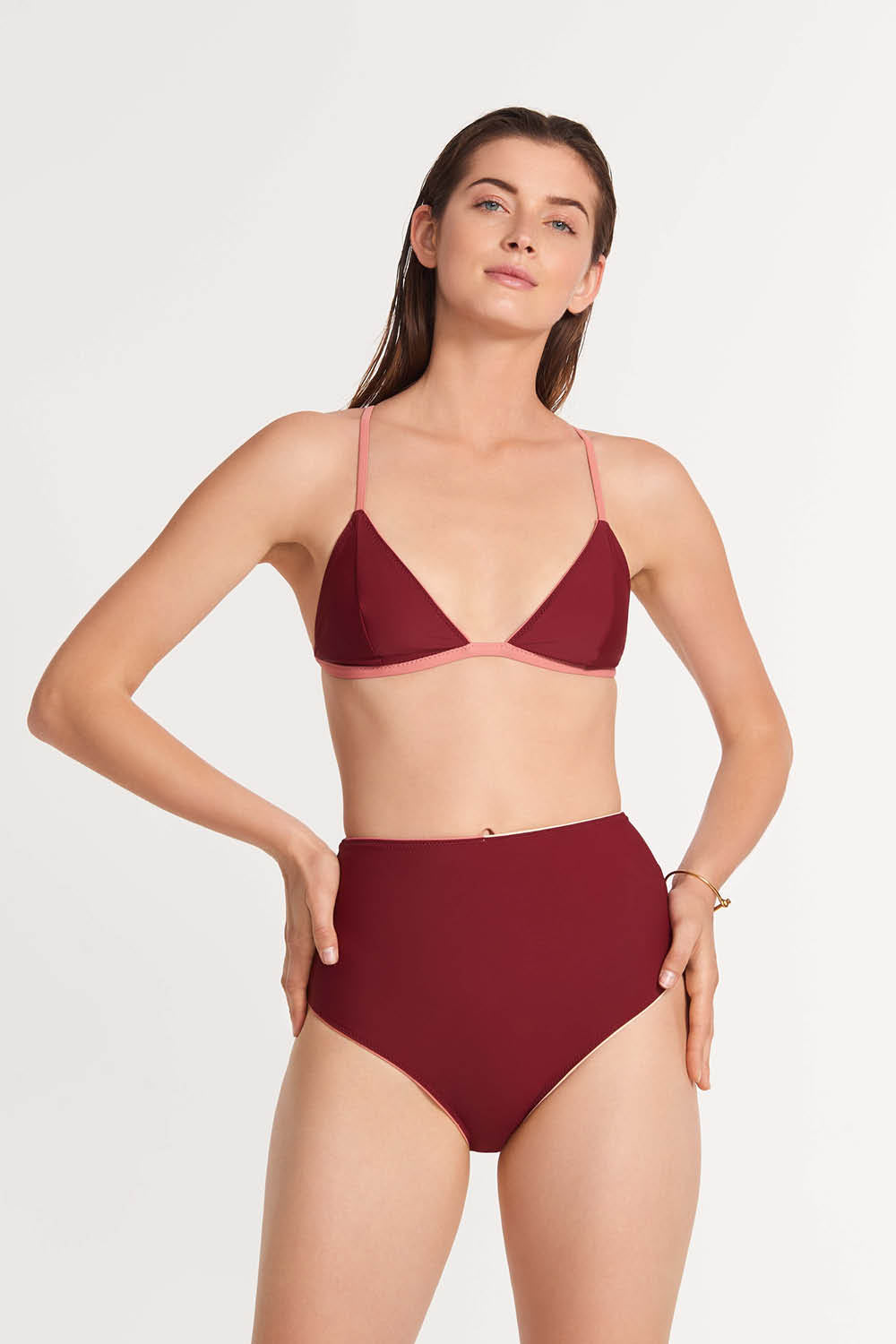Reversible Highwaist Bottom Burgundy/Peach