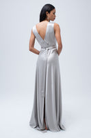Silk Backwards Wrap Dress in Silver thumbnail