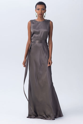 Silk Backwards Wrap Dress in Slate