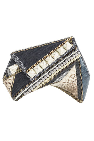 INDIGO Clutch in Denim & Silver
