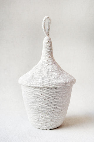 White Beaded Agaseke Basket