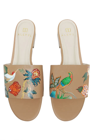 Bird Floral Hand Painted Slide in Tan