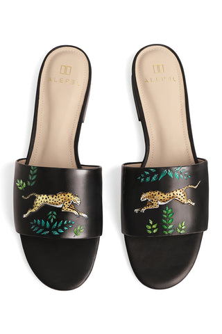 Golden Leopards Hand Painted Slide in Black