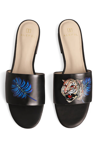 Royal Tiger Hand Painted Slide in Black