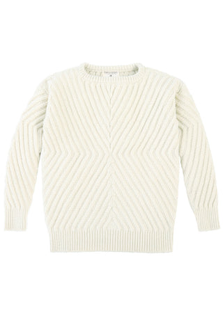Caitlin Chevron Rib Pullover in Natural