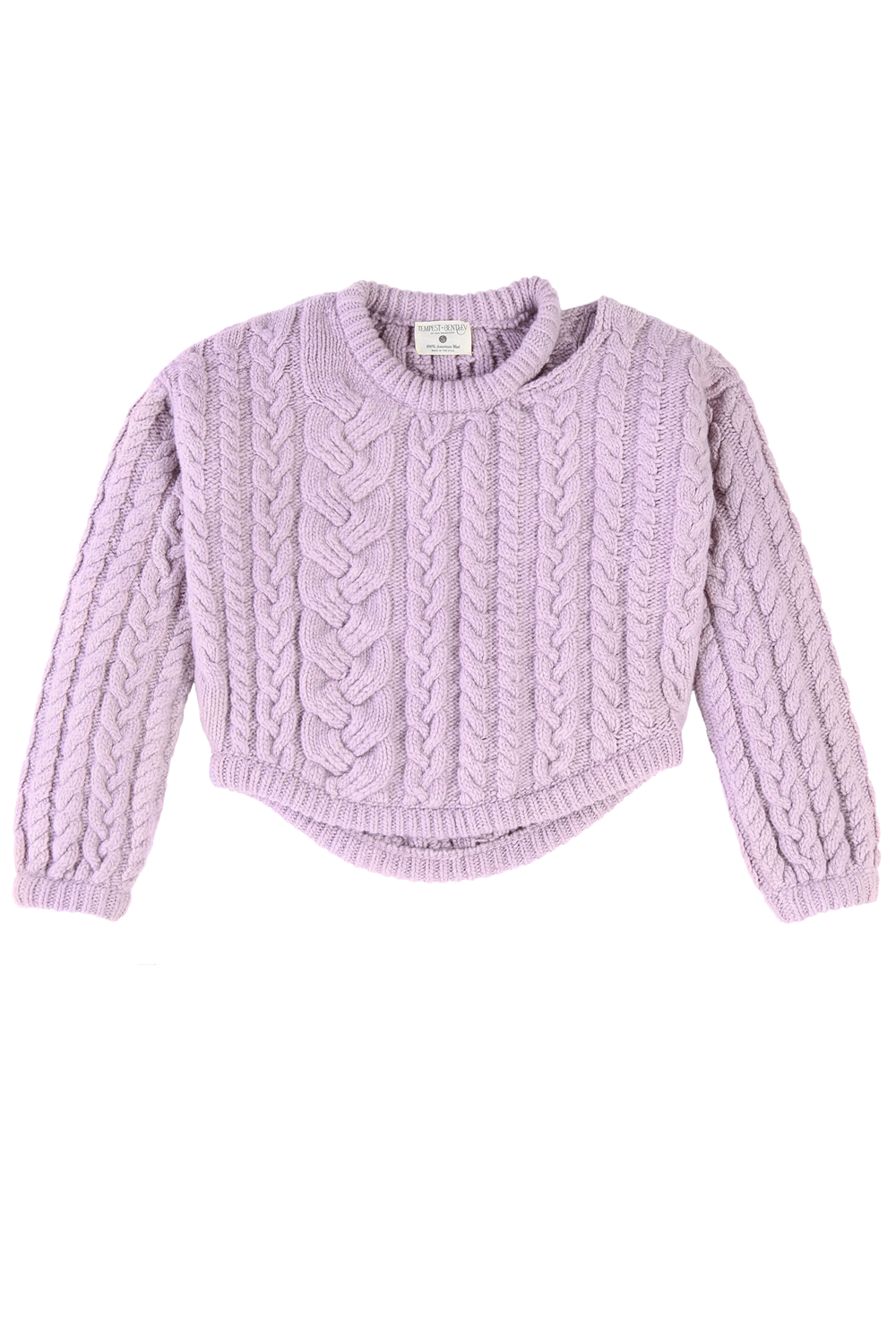 Charlie Croppy Cable Pullover in Lilac
