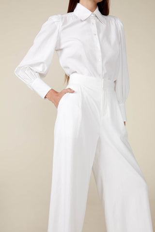 Claudine Wide Leg Pant in White