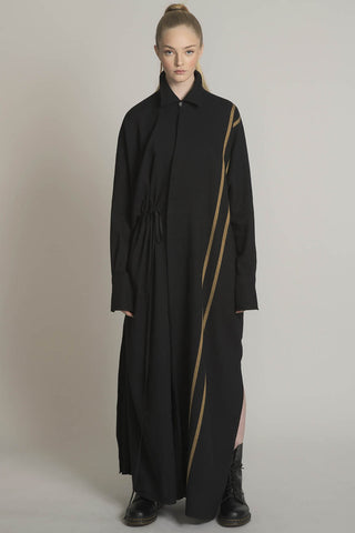 THE CHARMER DRAWSTRING SHIRT IN BLACK WITH CAMEL DOUBLE STRIPE