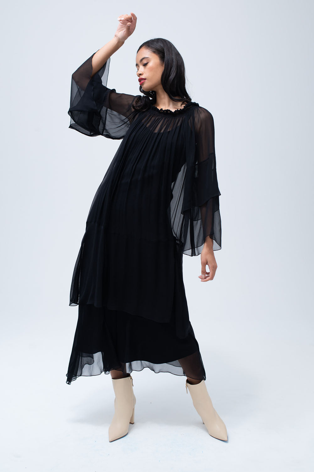 Cascade Dress in Black