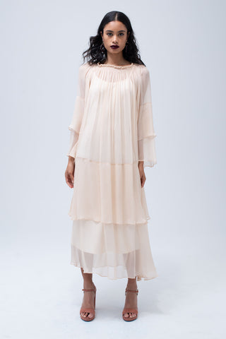 Cascade Dress in Blush
