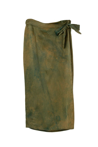 Circe Wrap Skirt in Moss Fields