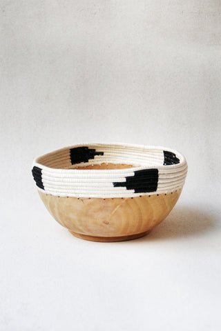 Small Copabu Wooden Bowl in Black & White