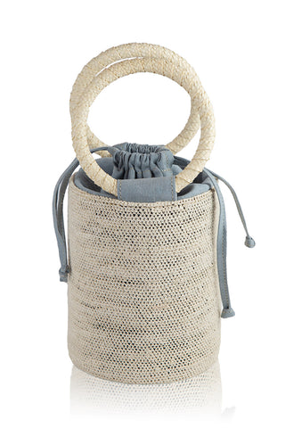 Natural-Dusty Blue Cylinder Bag