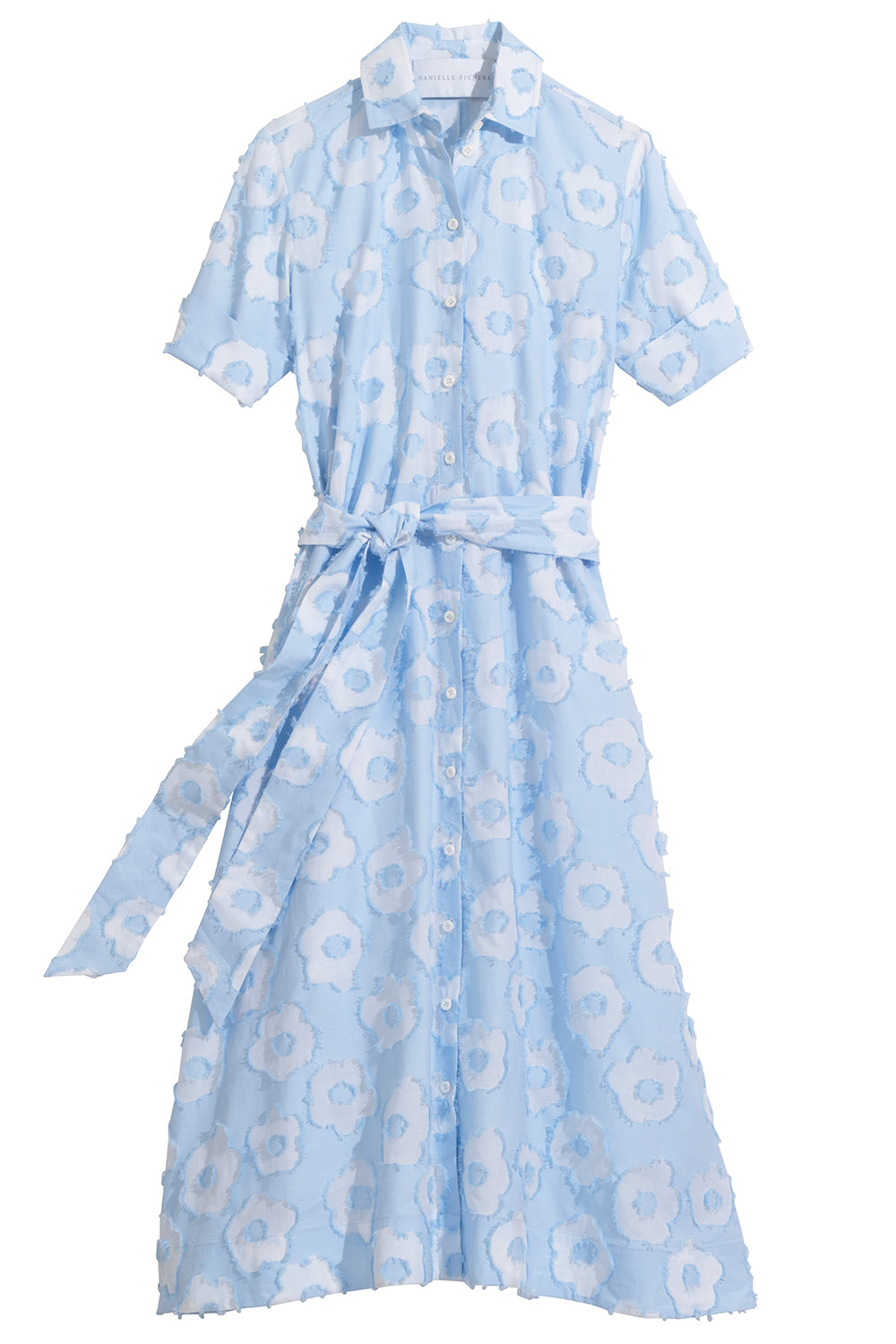 Amara Dress in Sky Blue & White