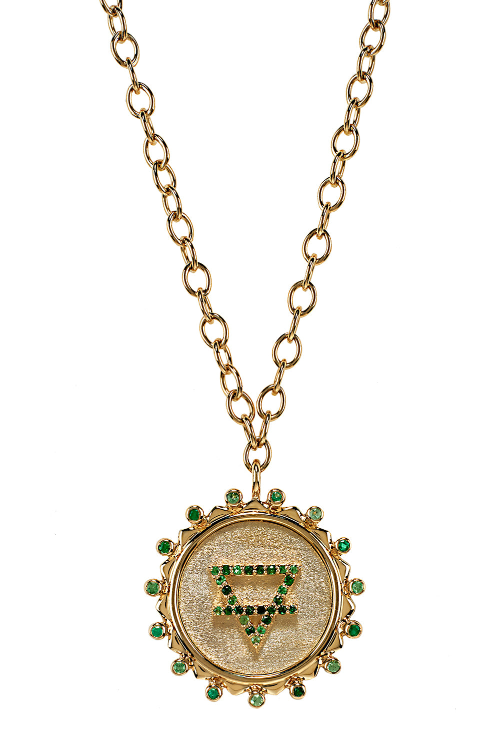 Down To Earth Element Necklace in 14K Yellow Gold with Green Sapphires