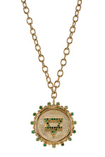 Down To Earth Element Necklace in 14K Yellow Gold with Green Sapphires thumbnail