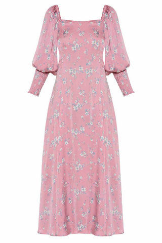 Dance Through The Meadows Dress in Pink with Flowers