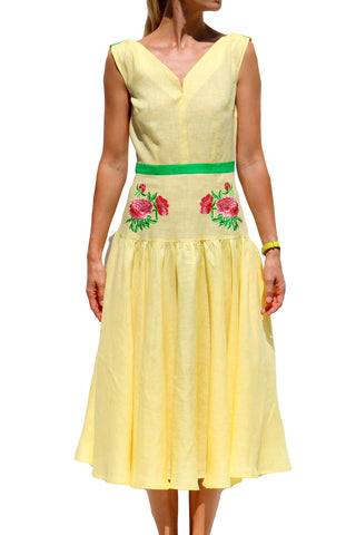 Dafne V Neck Sleeveless Midi Dress in Yellow