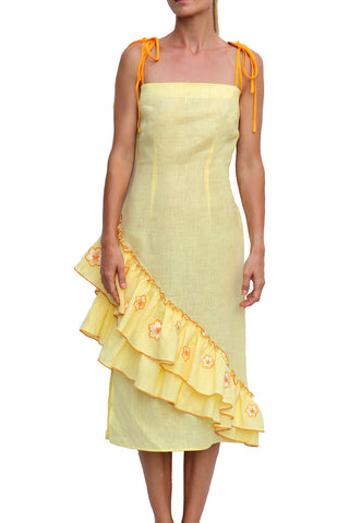 Detay Tiered Skirt Adjustable Spaghetti Bow Straps Midi Dress in Yellow