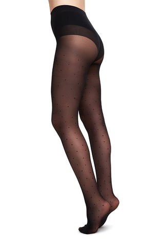 Doris Dots 40 Denier Tights in Black