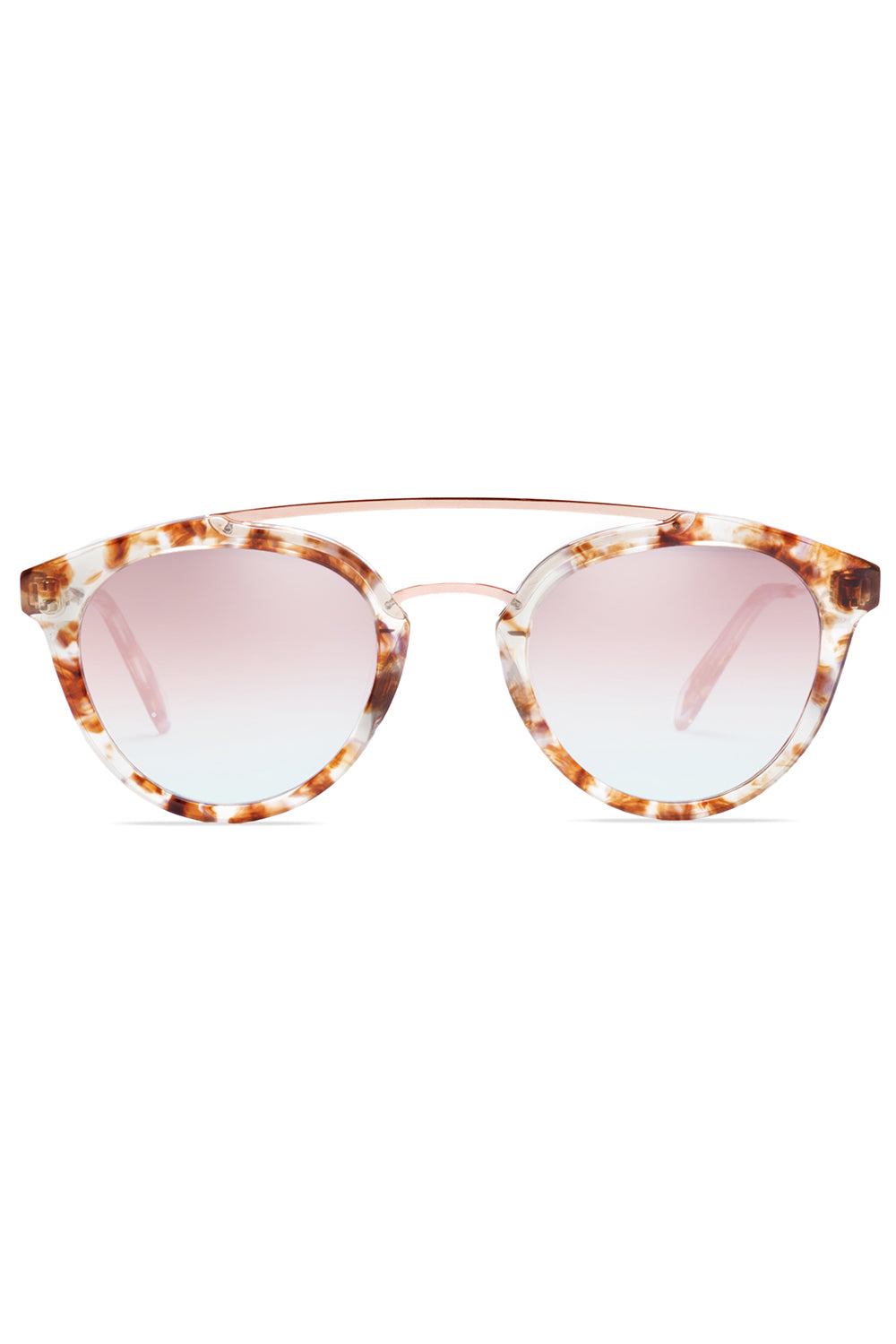 Double Bridge 05 Sunglasses in Polished Quartz Tortoise Acetate/Polished Rose Gold Metal