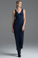 Double V Neck Dress in Navy thumbnail