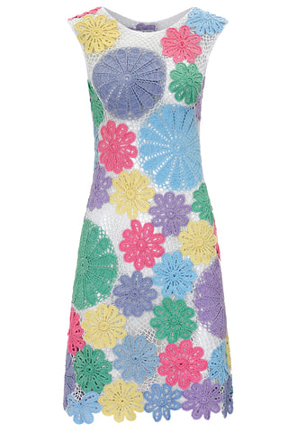Lea Dress In Multicoloured Crochet