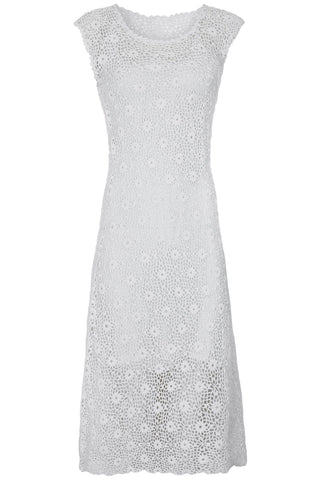 Marie Scoop Neck Crochet Dress In White