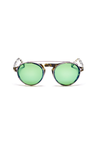 Dyad 7 Frame with Metallic Evergreen Lenses & Slate Aluminum Inlay