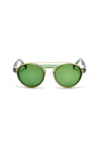 Dyad 10 Frame with Flash Evergreen Lenses & Honey Aluminum Inlay