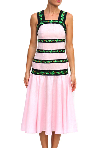 Dyam Sleeveless Embroidered Midi Dress in Pink