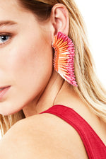 Raffia Madeline Earrings in Hot Pink thumbnail