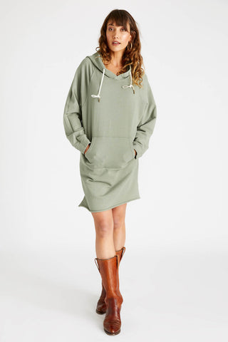 Layla French Terry Hooded Dress in Surplus