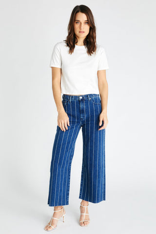 Devon Vintage Wide Leg Jeans in Wide Indigo Strip