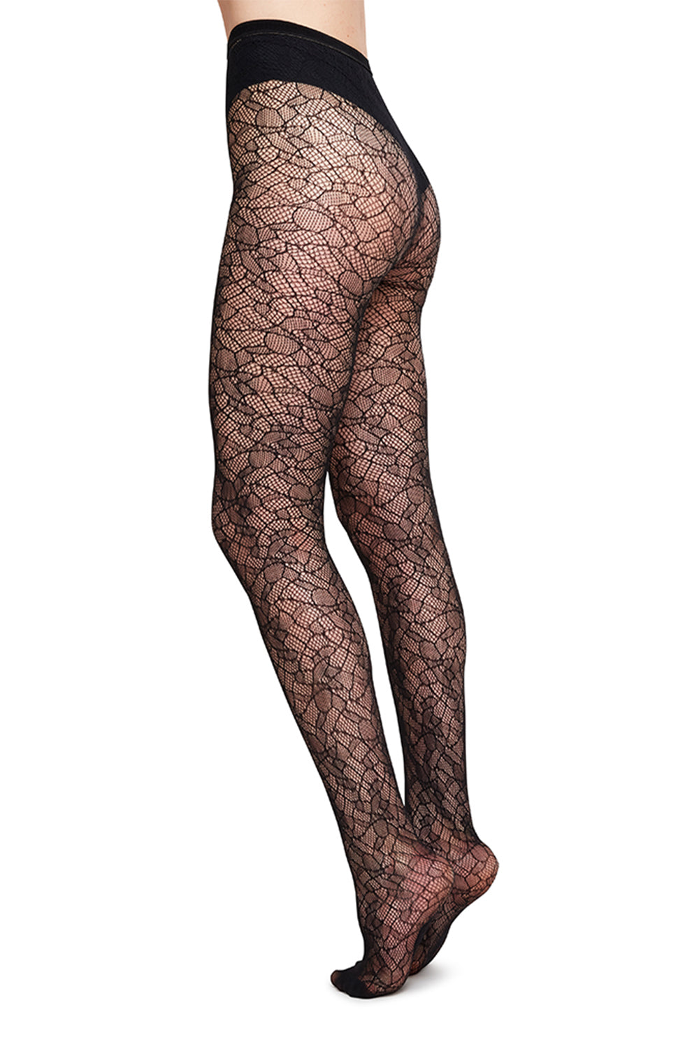 Edith Lace Tights in Black