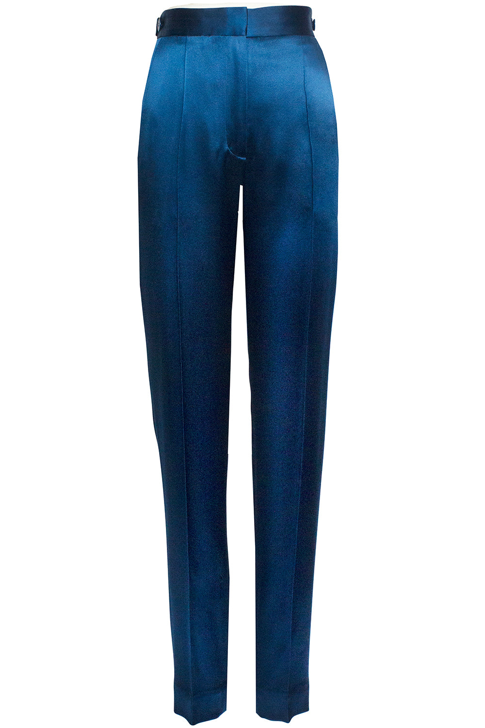 Elena Slim Leg Trousers in Teal Blue