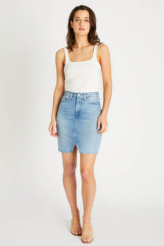Juliette Denim Pencil Skirt in Ice Blue Indigo
