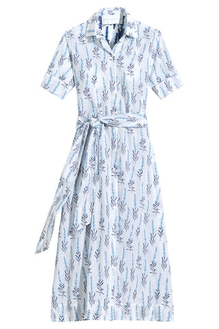 Amara Dress in White Light Blue & Navy