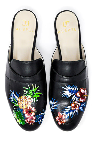 Black Mule with Handpainted Fruits