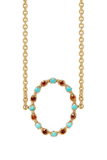 Full Circle Choker in 14K Yellow Gold with Orange Sapphires & Turquoise thumbnail