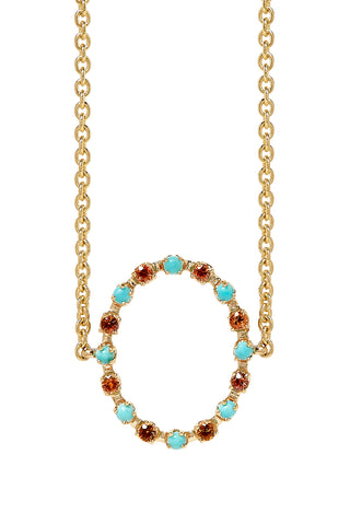 Full Circle Choker in 14K Yellow Gold with Orange Sapphires & Turquoise