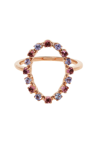 Full Circle Ring In 14K Rose Gold with Purple Tanzanites & Rhodolite