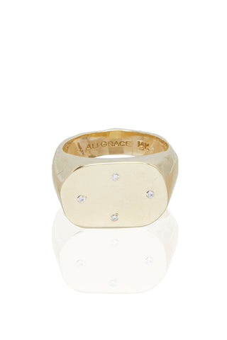 Four Diamond Gold Signet Ring
