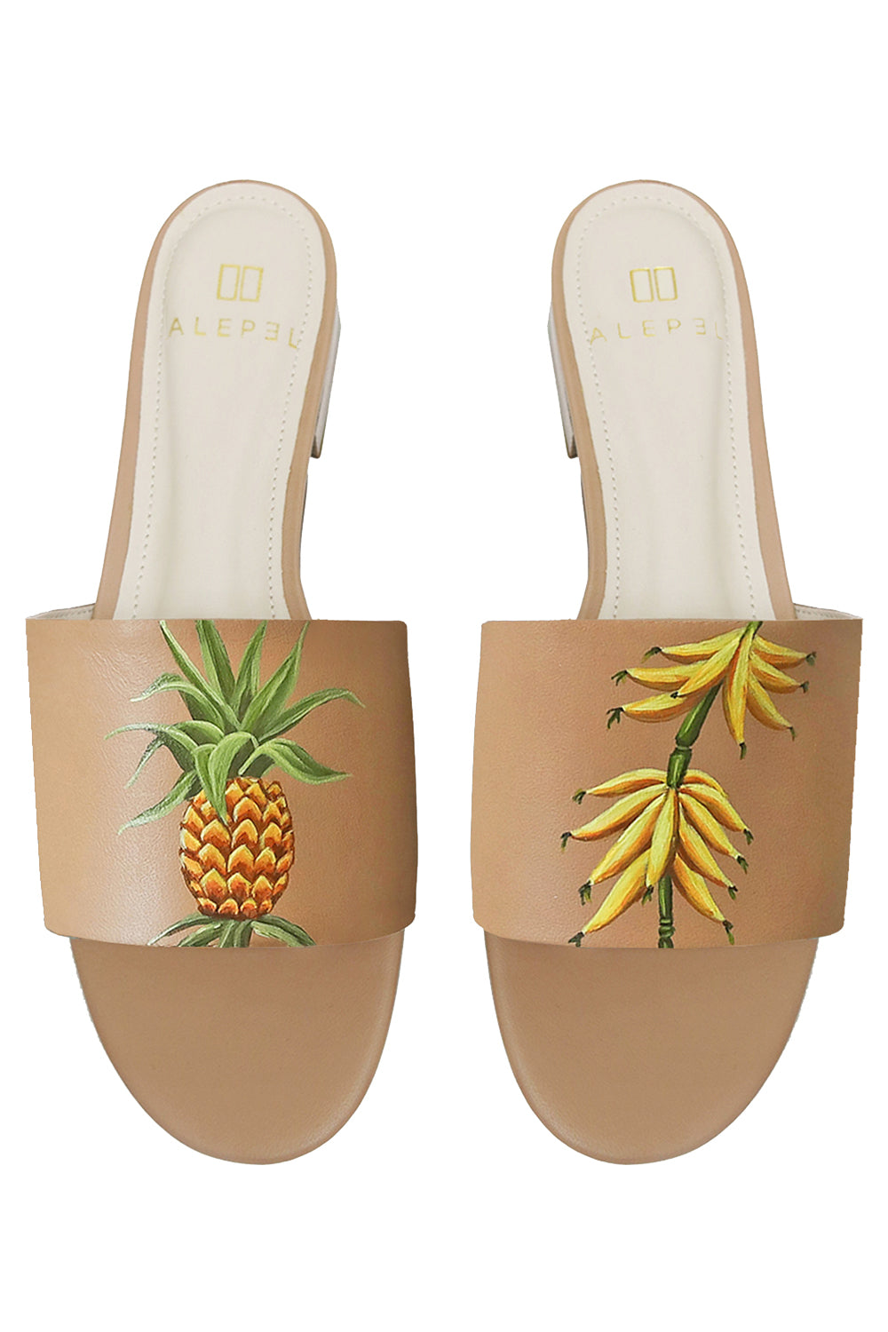 Vintage Fruits Hand Painted Slide in Tan