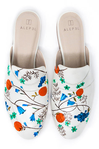 White Mule with Handpainted Grapes and Flowers
