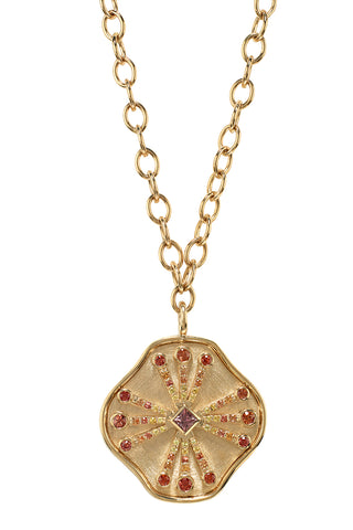 Guiding Light Necklace in 14K Yellow Gold with Multicolored Sapphires