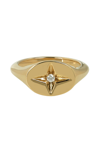 Guiding Star Pinky Ring in 14K Yellow Gold with White Diamond