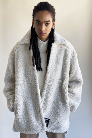 100% Recycled Shearling Anorak - Ivory