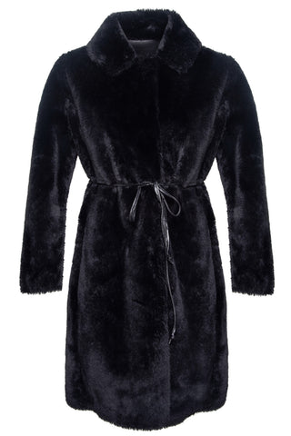 Teddy Reversible Coat in Black & Vegan Leather